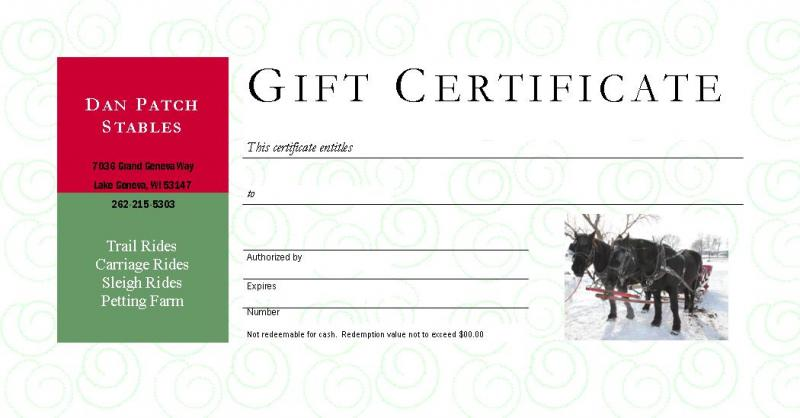 Dan Patch Stables - Gift Certificates